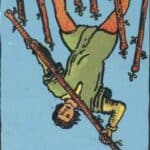 Seven of Wands (Reversed): love, money, profession, health, spirituality